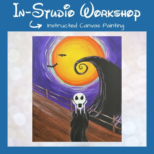"""Step by Step Canvas Painting Workshop """"Skeleton Screams"""""""