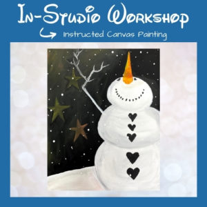 """Step by Step Canvas Painting Workshop """"Snowman Snowfall"""""""